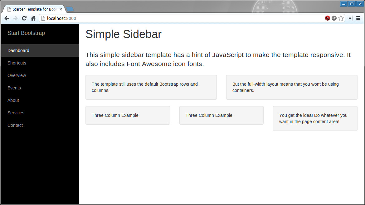 Bootstrap Theme Factory - Simple Sidebar